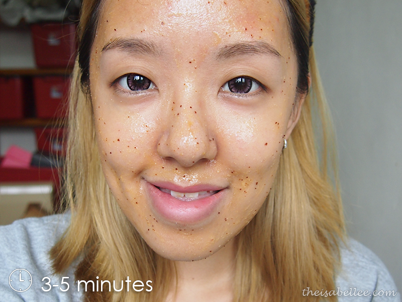 Leave on the exfoliator for 3 to 5 minutes