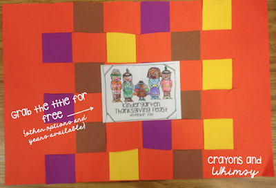 Kindergarten Thanksgiving Placemat Craft Crayons and Whimsy