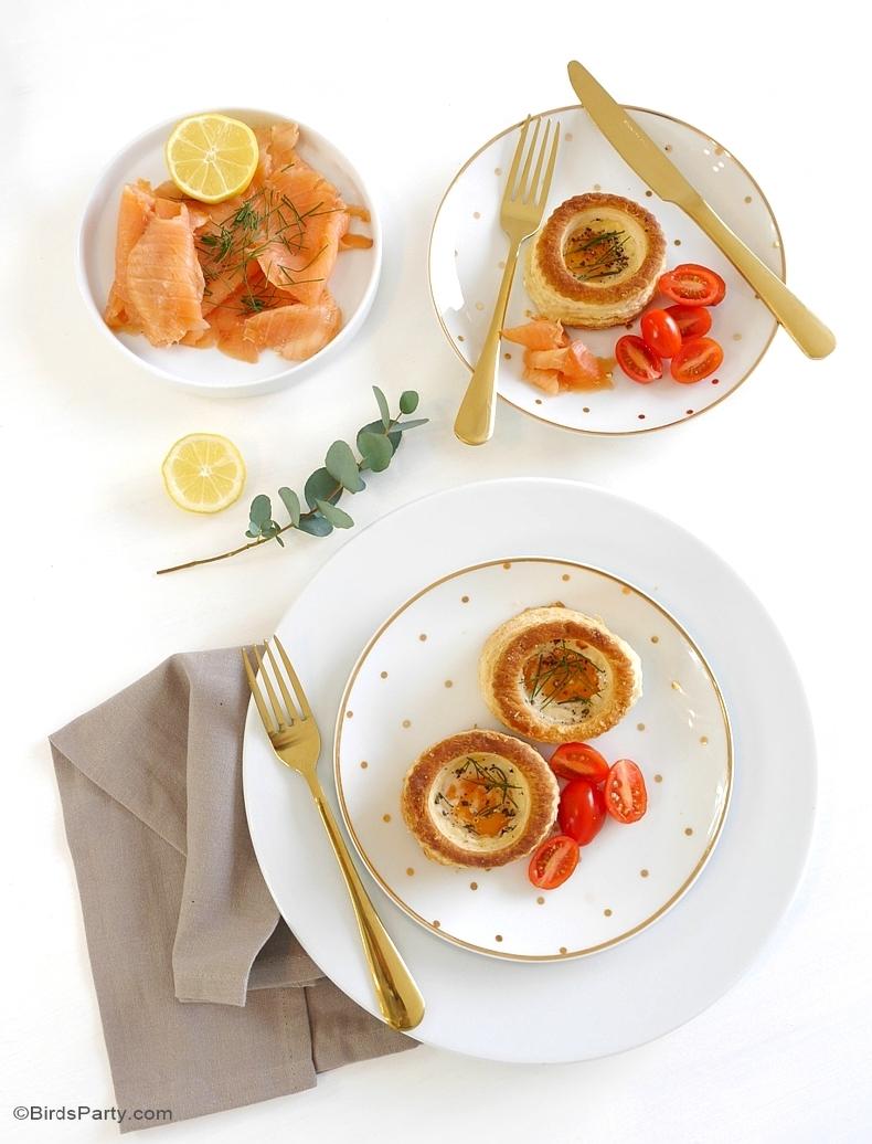 Recette | Vol-au-vent œuf cocotte au saumon fumé et à la ciboulette - BirdsParty.fr
