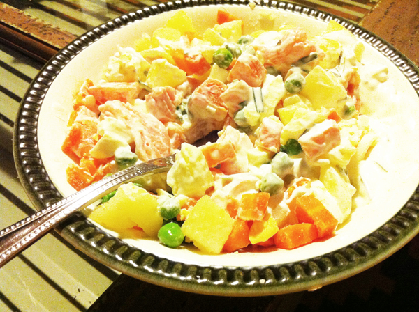 Russian salad with smoked Alaskan salmon