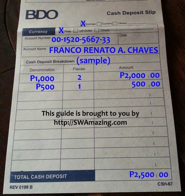 Jay'S Hub: Paano Mag Fill Up Ng Bdo Cash Deposit Slip For Swa