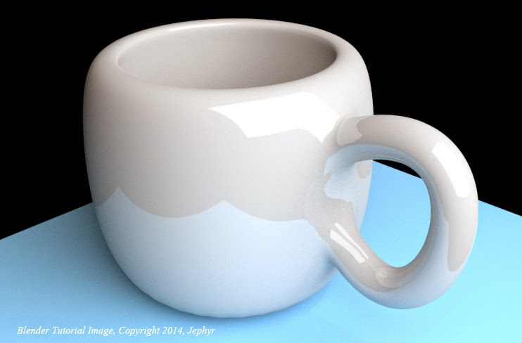 Cup created by following a YouTube Blender Tutorial - Image Copyright 2014, Jephyr!