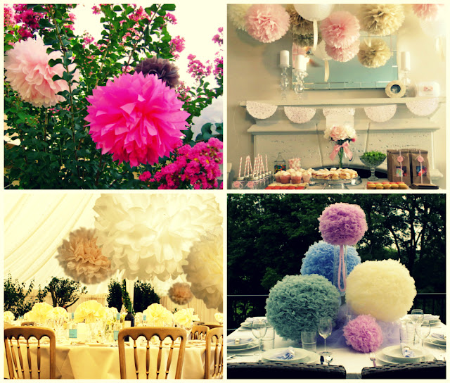 pompoms wedding reception decor