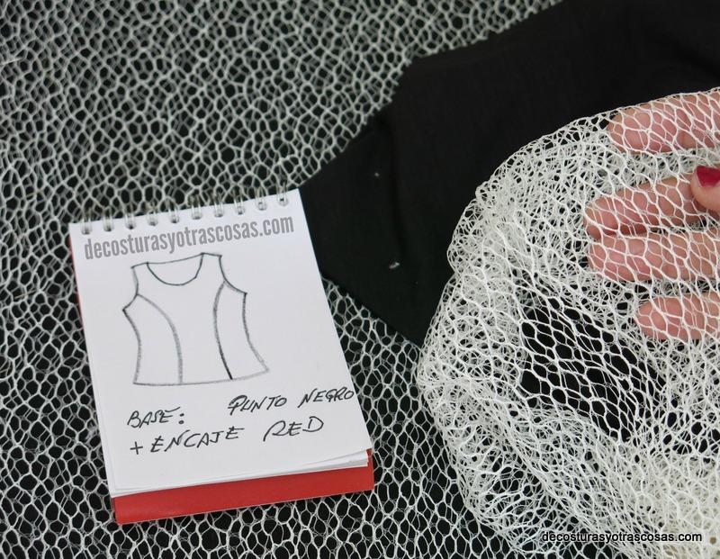 punto jersey fino y encaje de red