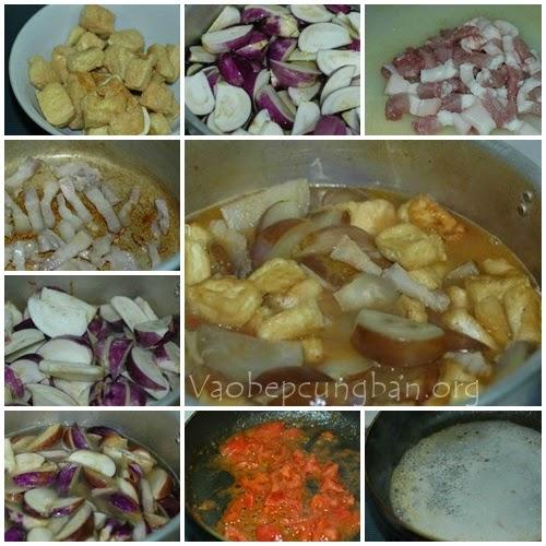 Cách nấu Canh cà tím Bung 1