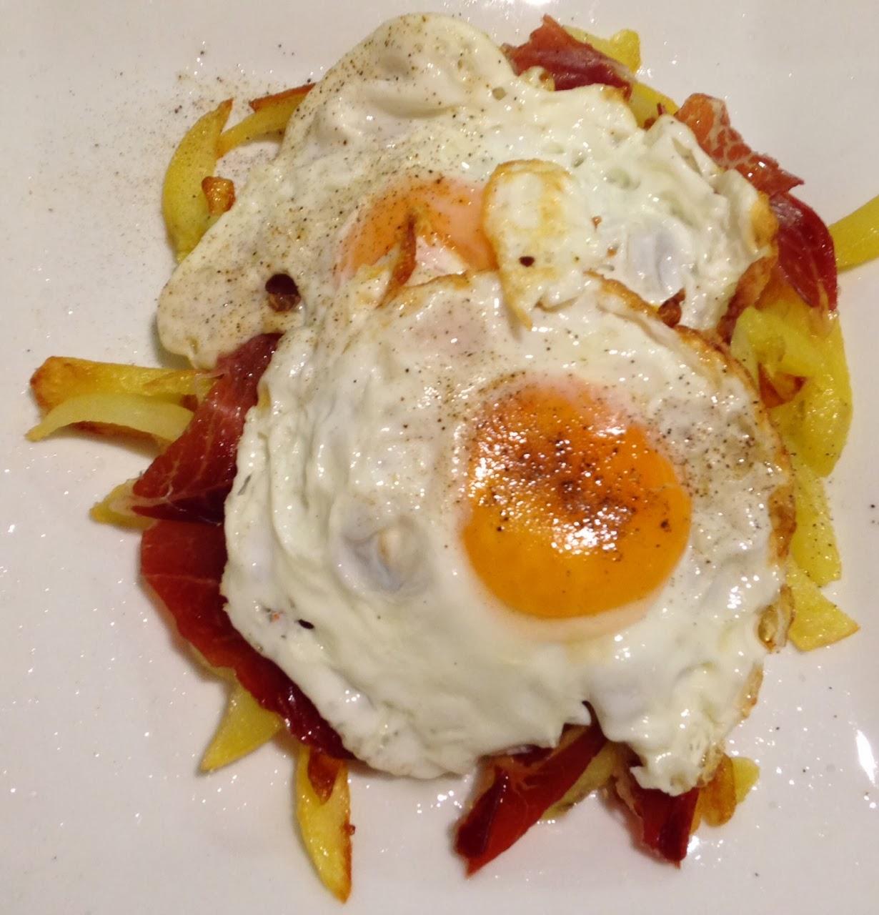Cooking diana huevos rotos con jam n ib rico - Platos con jamon iberico ...