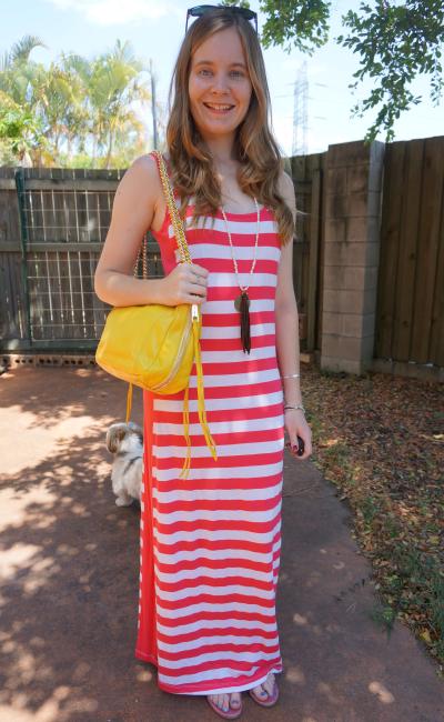 pink striped maxi dress studded sandals rebecca minkoff yellow swing bag