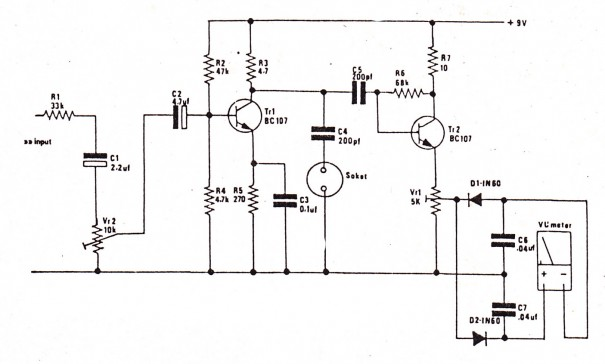 simple audio meter circuit diagram