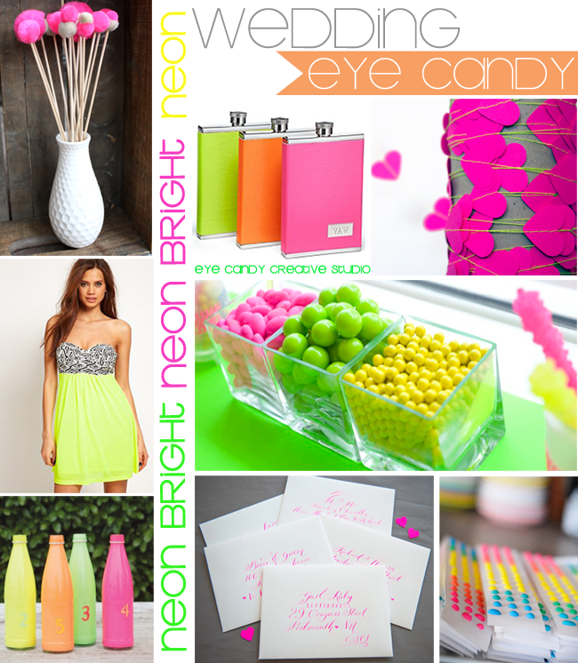 neon wedding, neon decor, neon wedding inspiration, candy, neon party
