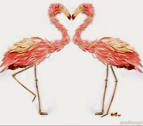 09-Flamingo-Made-With-Pink-Cerbera-Petals-&-Twigs-Malaysian-Architect-Hong-Yi-aka-Red-www-designstack-co