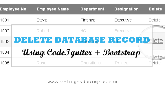 delete data from database in codeigniter