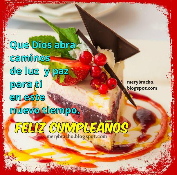 Mensaje cristiano de cumpleaños, linda tarjeta para felicitar cumple. Palabras bonitas en imagen cristiana para desear felicidades.