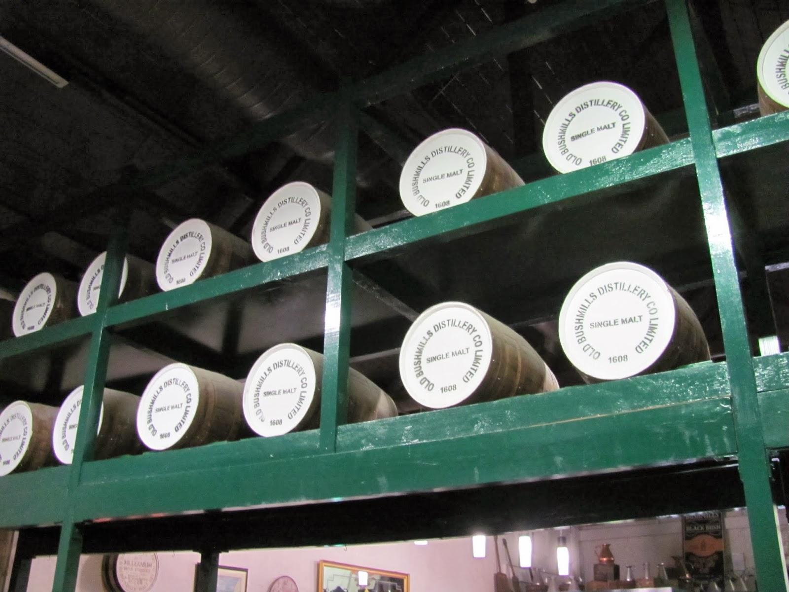 Barrels of Bushmills' Whiskey aging in Bushmills, Northern Ireland, UK