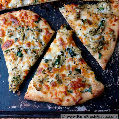 Cubed turkey tossed with pesto then used to top pizza with spinach and Manchego cheese. A tasty way to enjoy Thanksgiving leftover turkey!