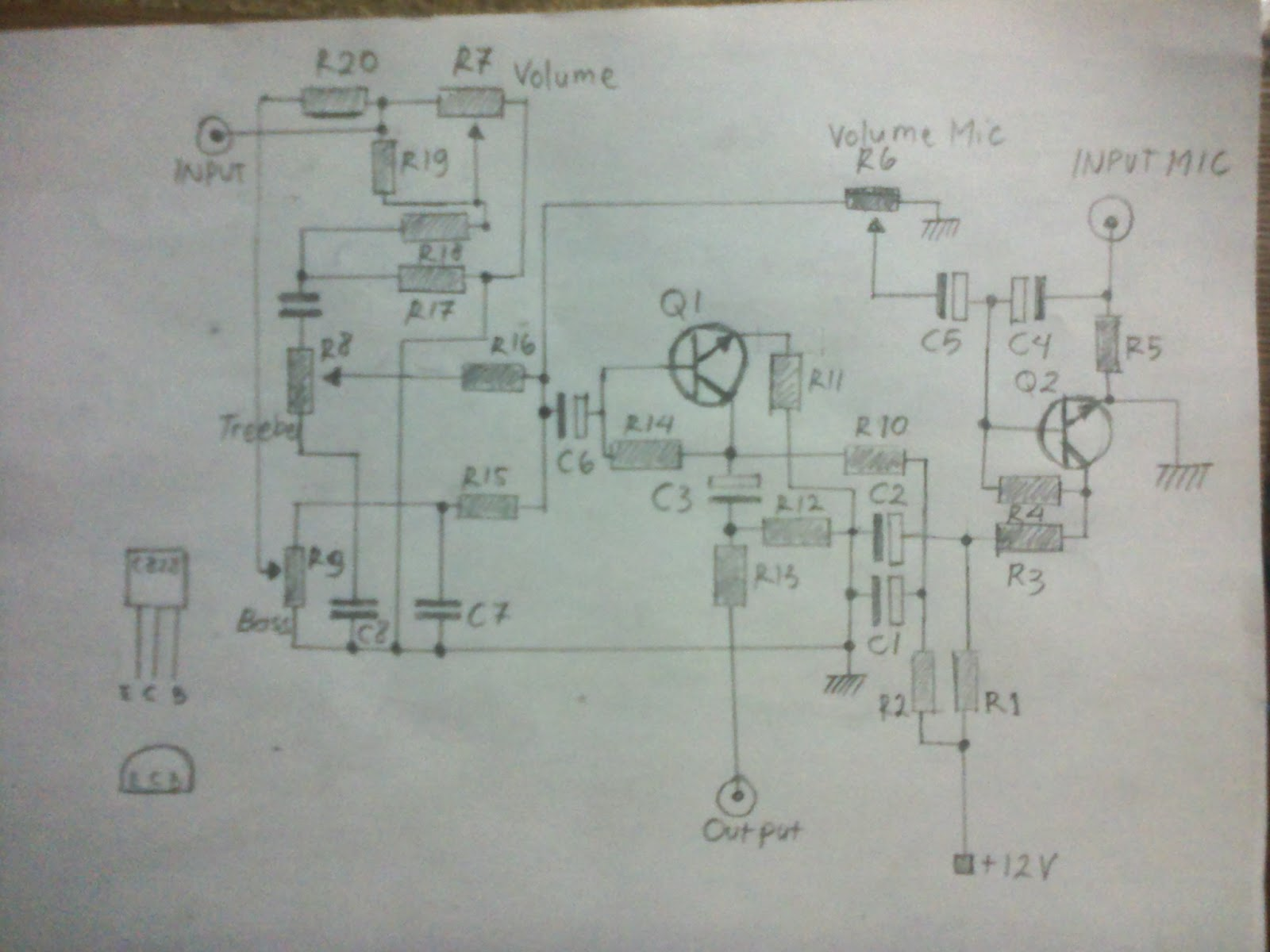 Tone Control Circuit Schematic Mic Trusted Schematics Diagram Stereo Pre Amplifier Based Tda1524a C828 With Amp 6c4 Guitar