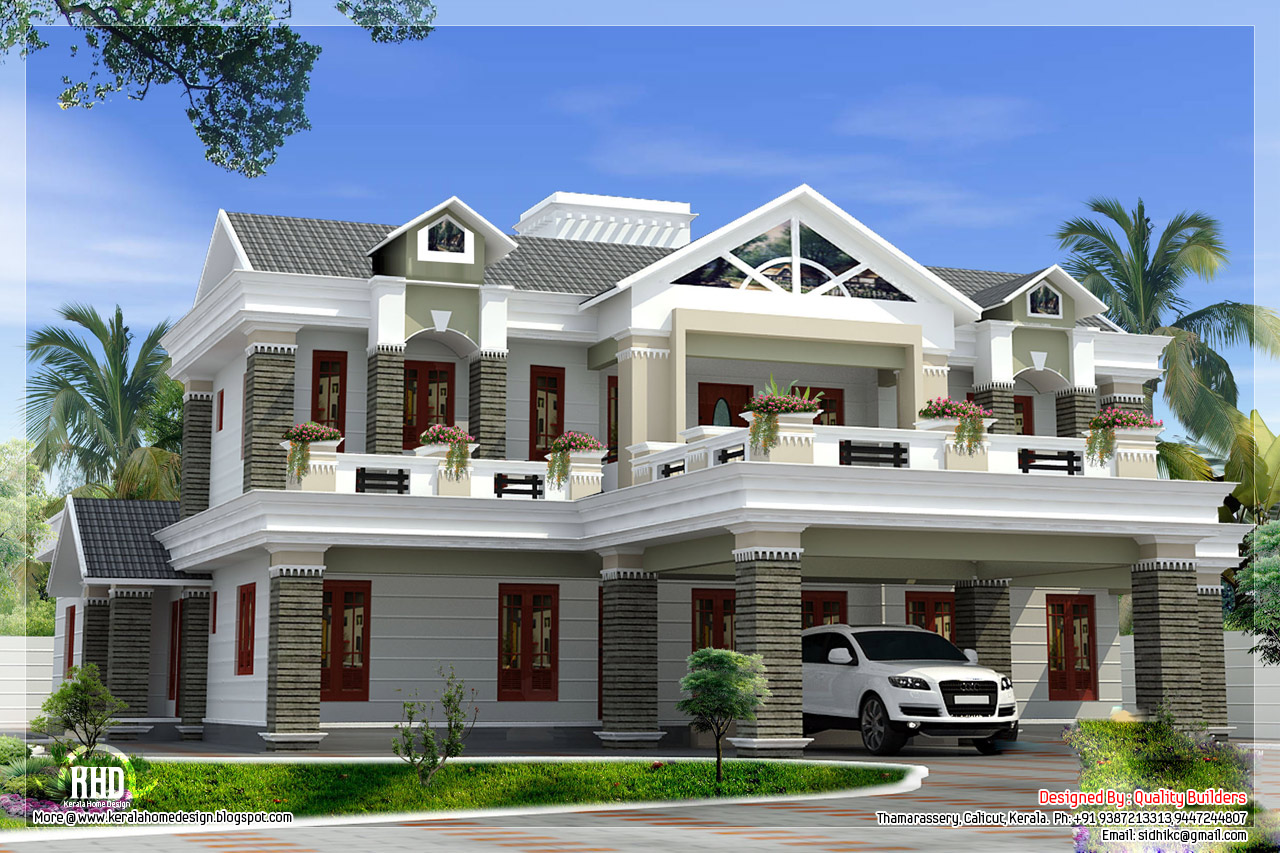 Sloping roof mix luxury home design kerala home design for Luxury house designs and floor plans
