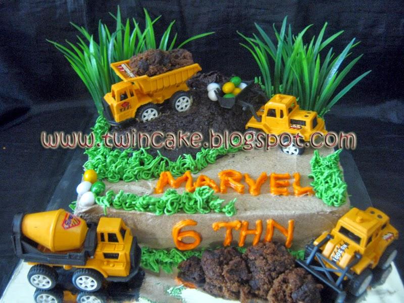 Twincake Excavator Birthday Cake Marvel