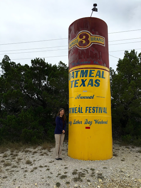 Posing Next to the Big Oatmeal Box-Oatmeal, Texas