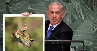 Netanyahu holding picture of shirtless Putin on weasel on woodpecker