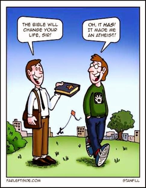 Funny The Bible Made Me An Atheist Cartoon