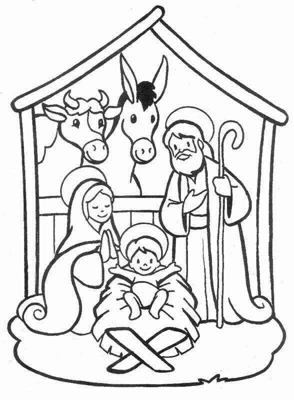 Christmas Drawings Birth Of Jesus Coloring Child Coloring