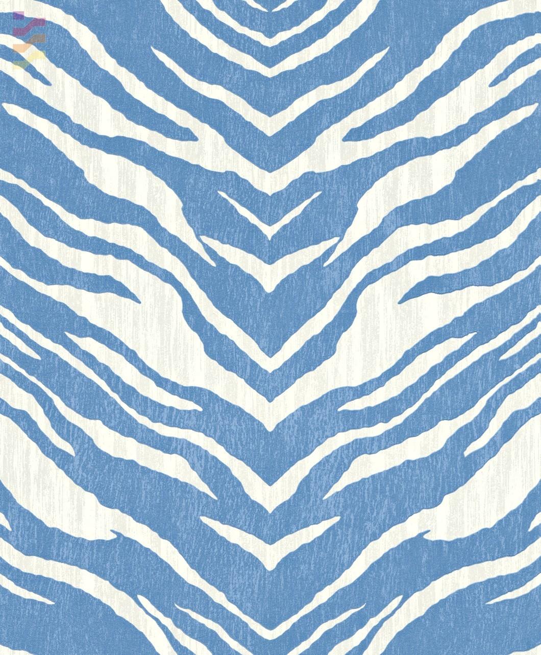 wzór zebra niebiesko biała