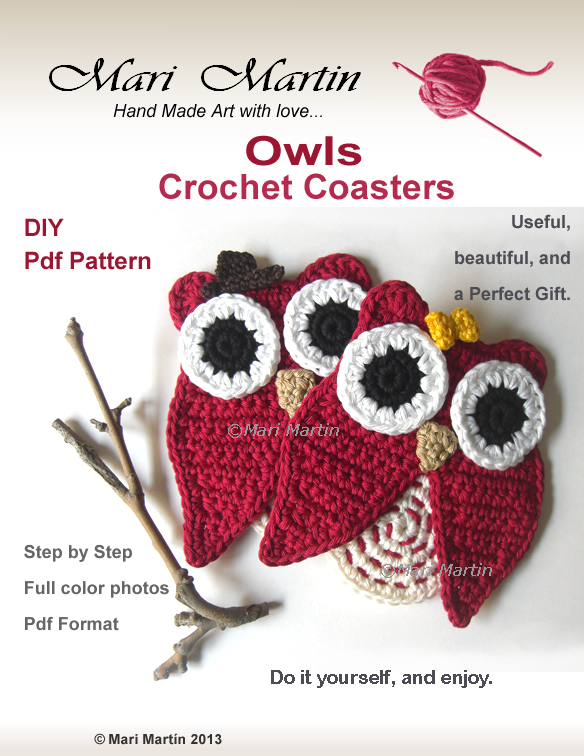 Crochet Coasters Owl Pattern