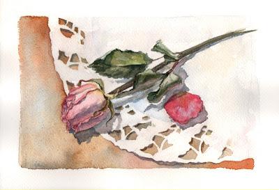 роза акварелью, мастер класс