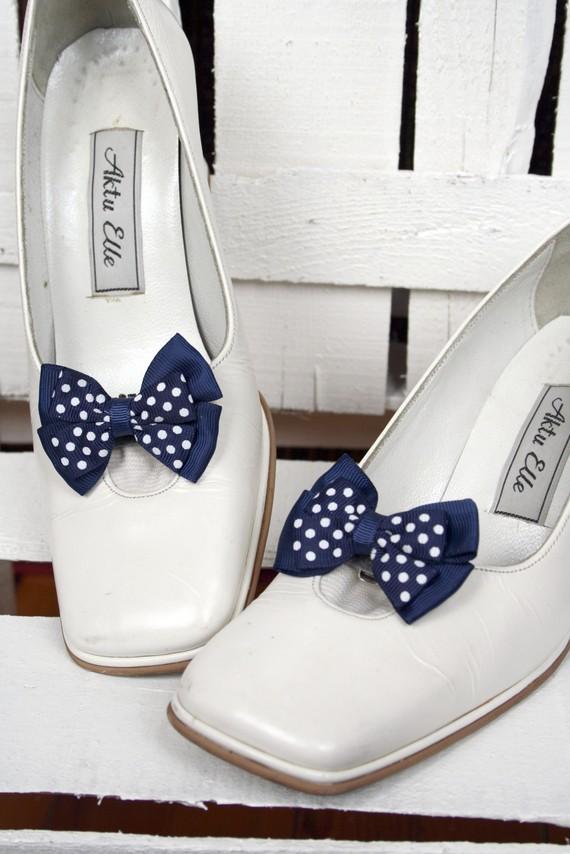 White Wedding Shoes Polkadot Navy Blue