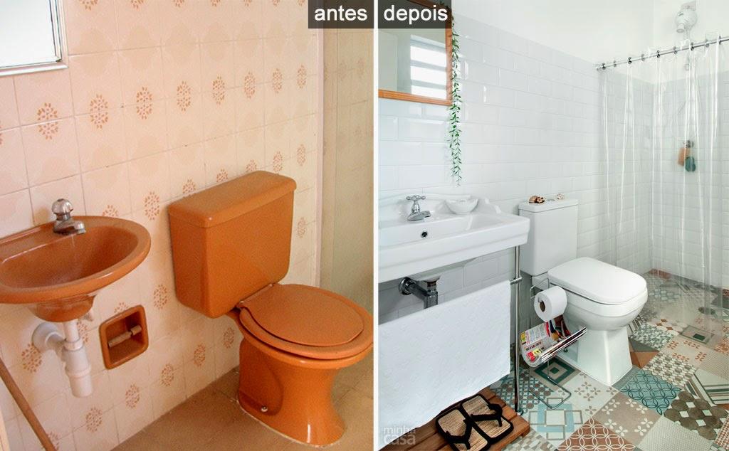 Meu Cantinho Decorado Antes e Depois -> Banheiros Simples Pintados
