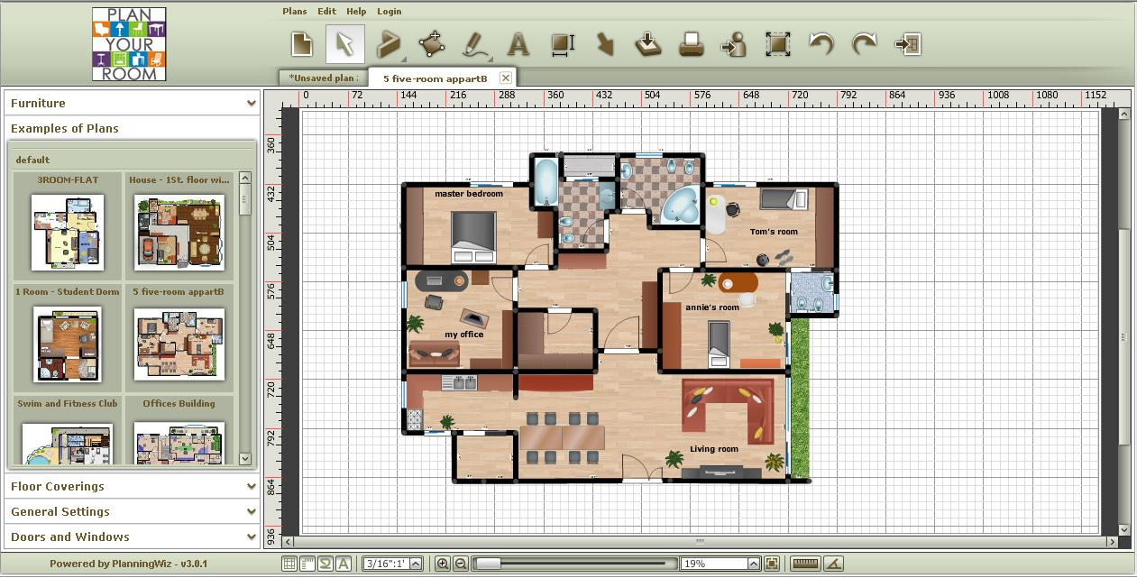 Crear planes de piso en línea para su hogar: Plan Your Room ...