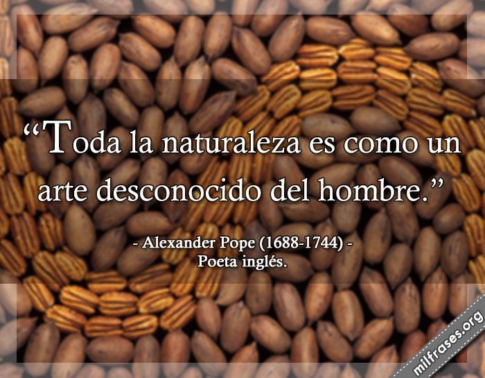 Toda la naturaleza es como un arte desconocido del hombre. frases de Alexander Pope (1688-1744) Poeta inglés.