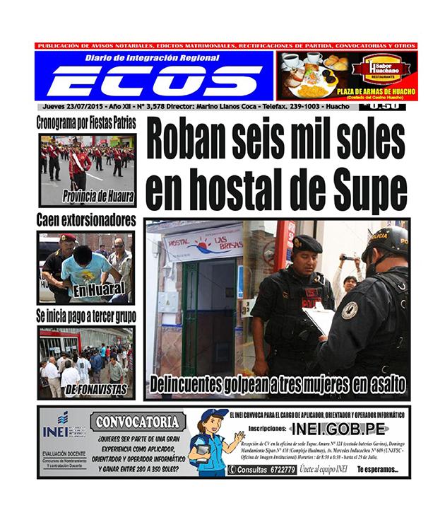 Esta es la edición del Diario ECOS jueves 23 de julio del 2015