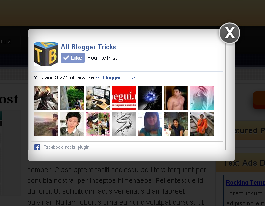 Pop Up Facebook Like Box For Blogger