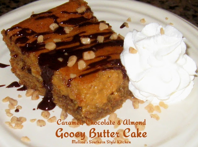 Caramel Chocolate And Almond Gooey Butter Cake