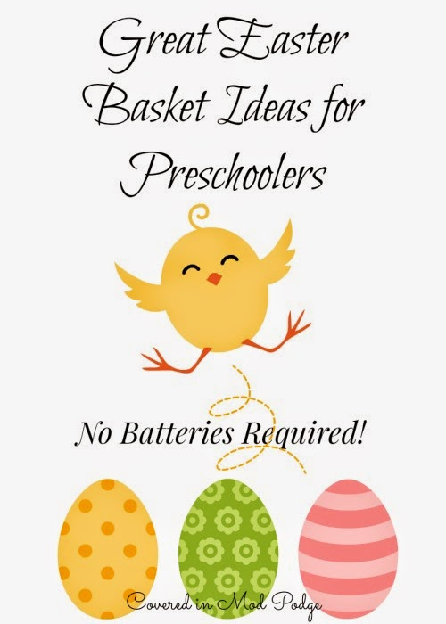 Covered in mod podge easter basket ideas for preschoolers no easter tends to be one giant sugar laced event im not a total scrooge we enjoy the candy my daughter gets at our churchs easter egg hunt negle Gallery
