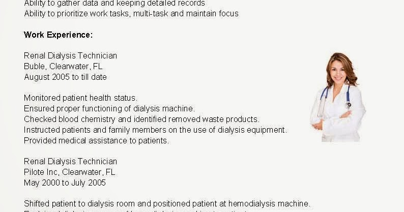 resume samples renal dialysis technician resume sample - Dialysis Technician Resume