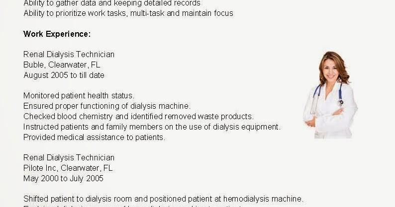 Sample resume resume samples renal dialysis technician resume sample
