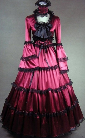 Honorable Red Lace and Bow Gothic Victorian Dress