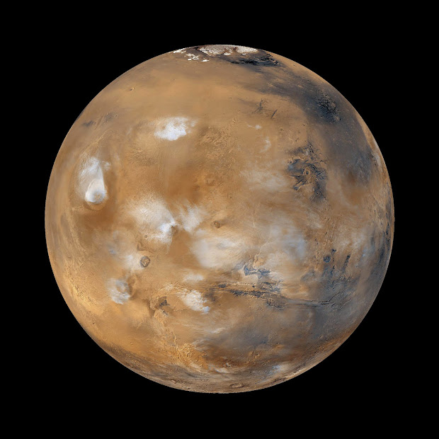 Mars Global Surveyor MOC view of Martian Weather Patterns