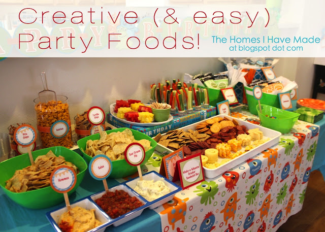 The homes i have made monster party spotlight on food for Food bar ideas for a party
