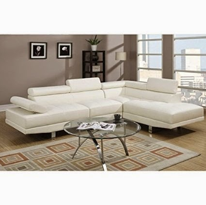 Poundex White Leather Modern Sectional Sofa