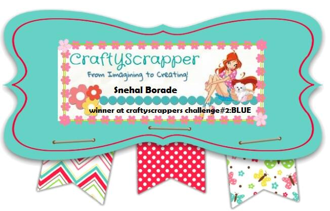 Winner of Challenge #Blue for Craftyscrappers