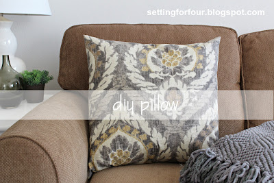 Learn how to make this quick and easy 5 minute DIY Pillow cover for your home - it's a Ballard Designs Knockoff and budget friendly DIY decor idea! www.settingforfour.com