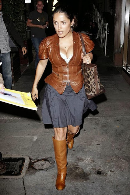 Salma Hayek In Leather Top