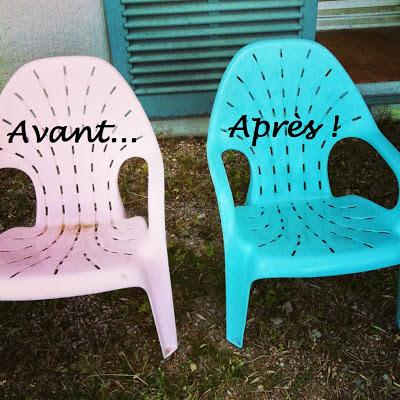 Initiales gg j 39 ai test la peinture sp ciale plastique for Peindre chaise plastique