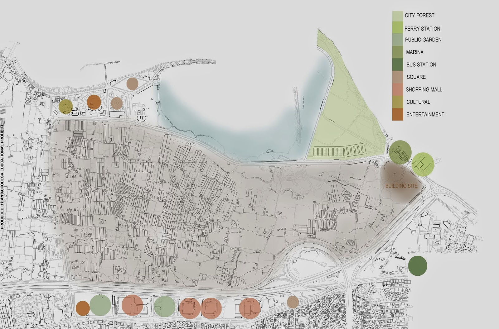 use land analysis for out of site that shows functions of spaces shopping malls ferry station and lagoon play