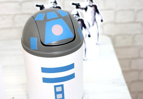 Selbstgebastelter R2D2 für die Star Wars Kinderparty