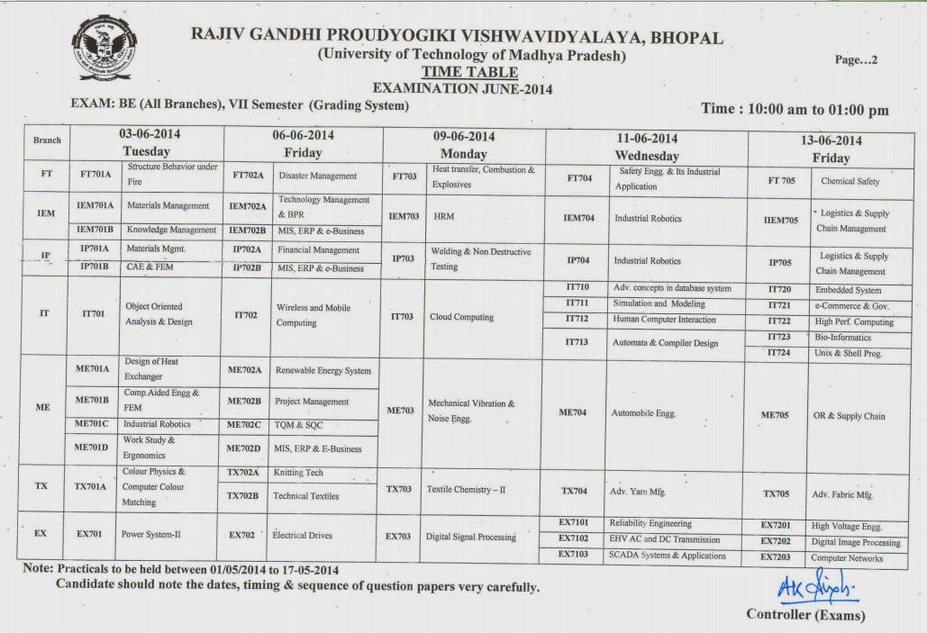 Rgpv b e 7th sem exam time table 2014 rgpv examination for Rgpv time table 6th sem 2015