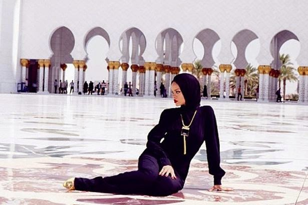 RiRi was slammed for violating the rules on the 'status and sanctity of the mosque'